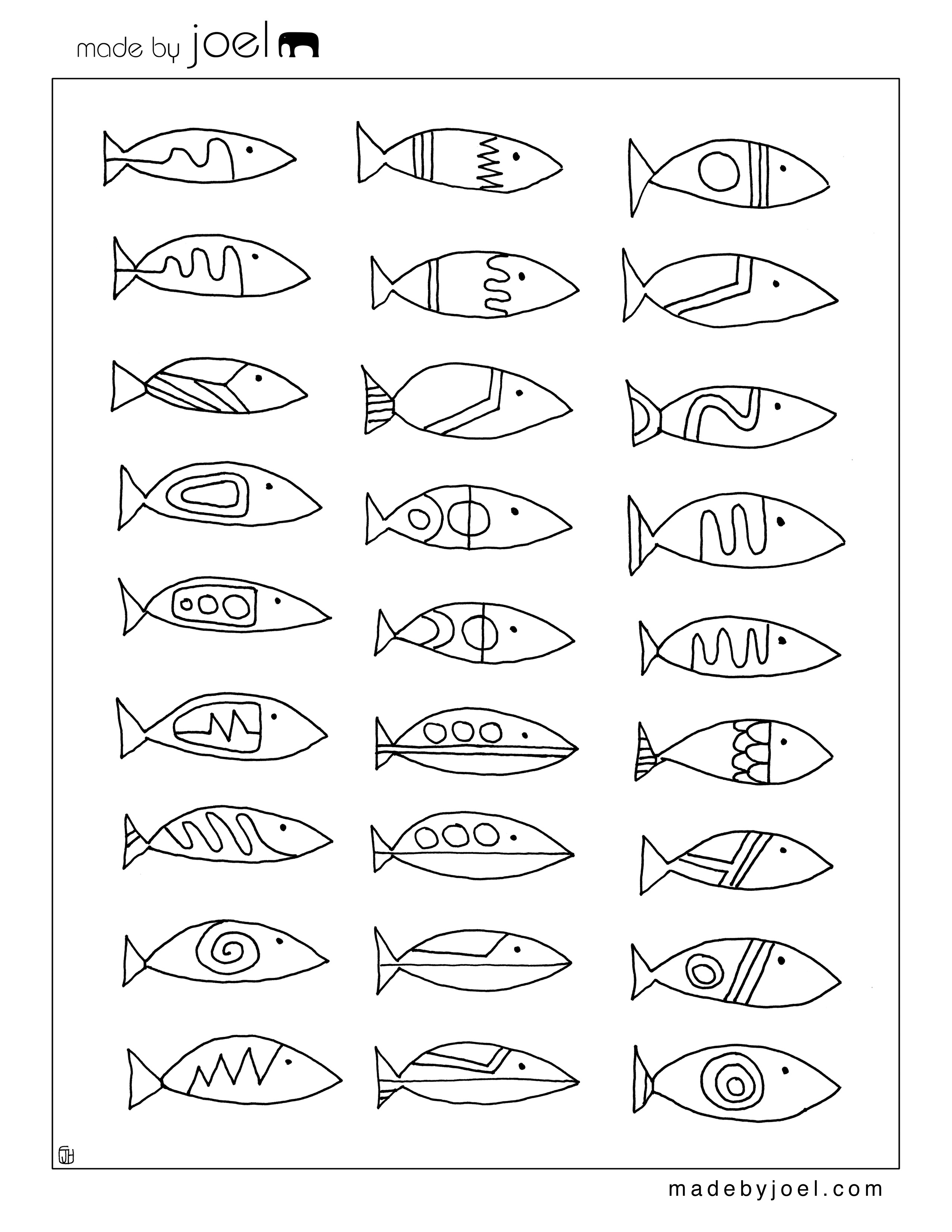 Made By Joel Made By Joel Modern Fish Designs Coloring Sheet Free Printable Template