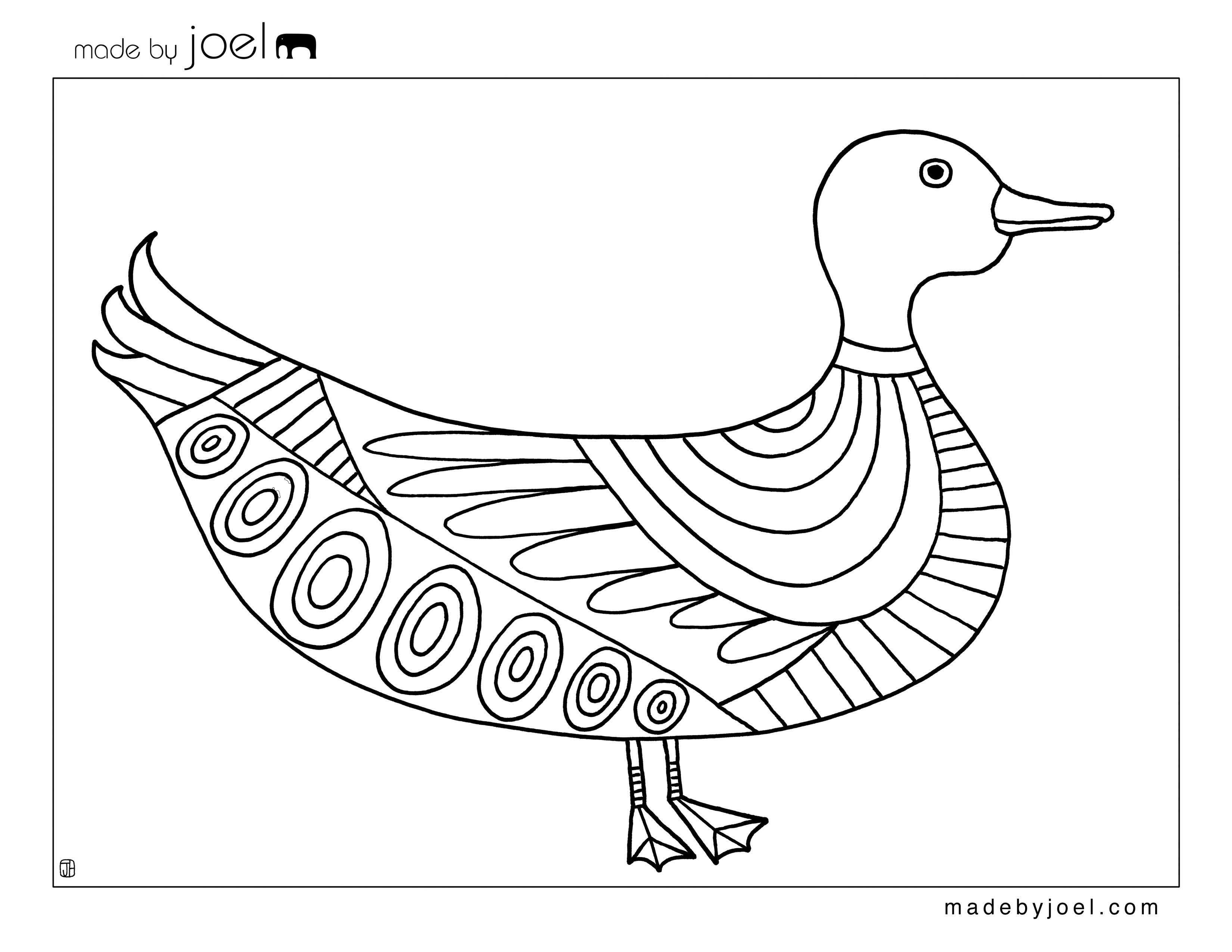 Duck Coloring Sheet - Made by Joel