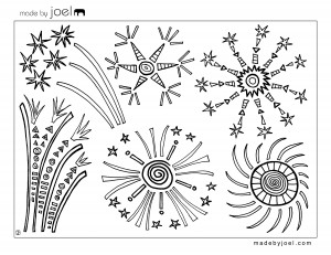 Made by Joel Fourth of July Fireworks Coloring Sheet 300x231