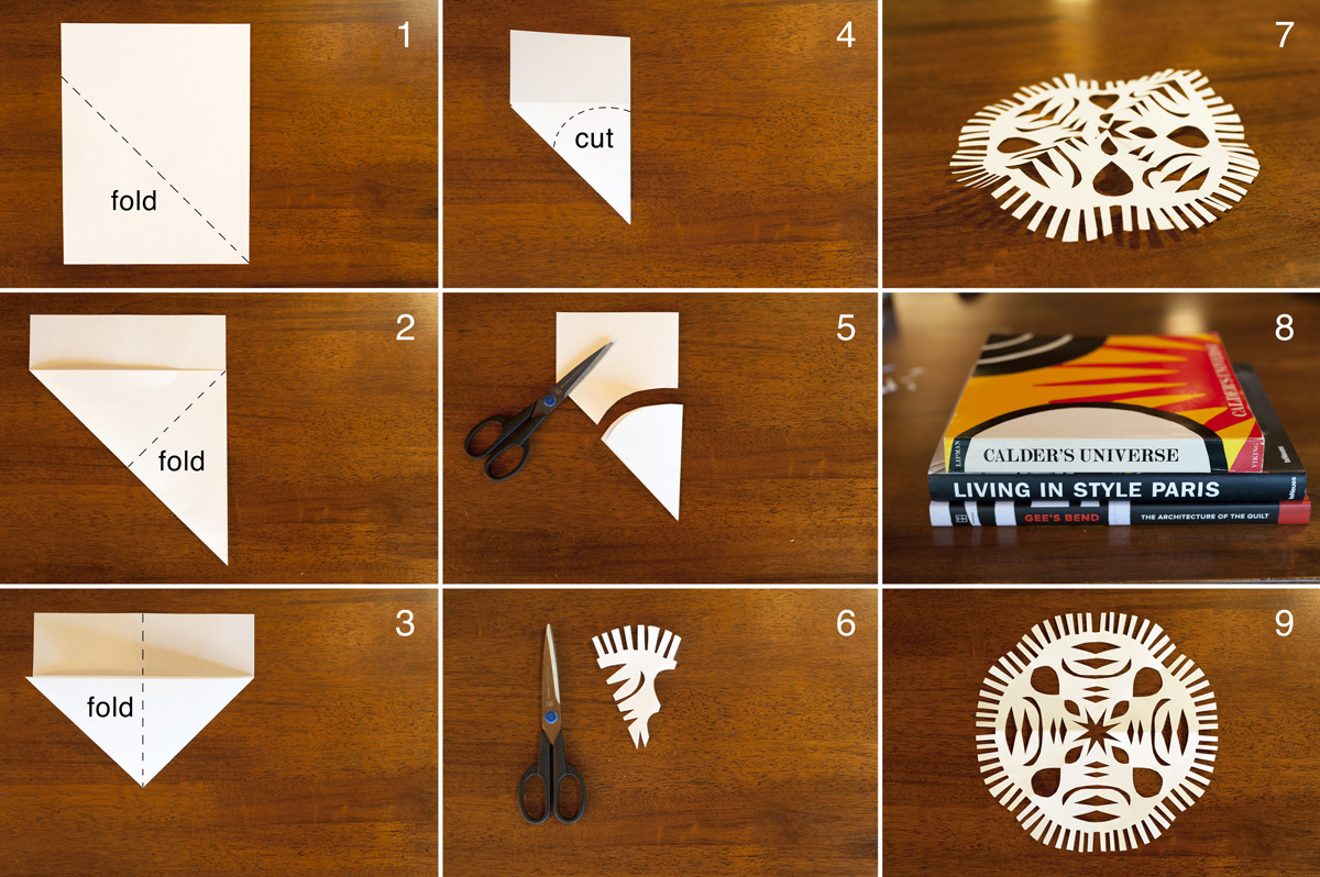 Made by joel hanging paper snowflakes kids craft for How to make a real paper snowflake